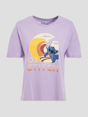 T shirt Lilo et Stitch mauve femme