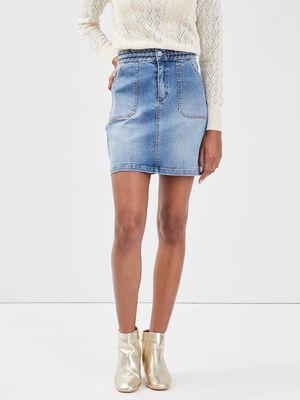 Jupe droite en jean denim double stone femme