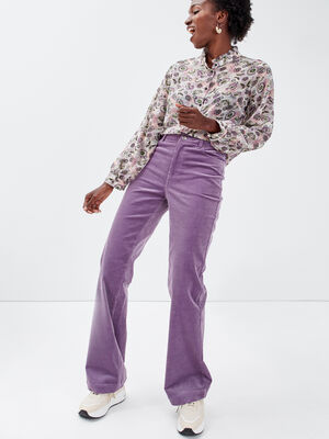 Pantalon flare velours cotele violet femme