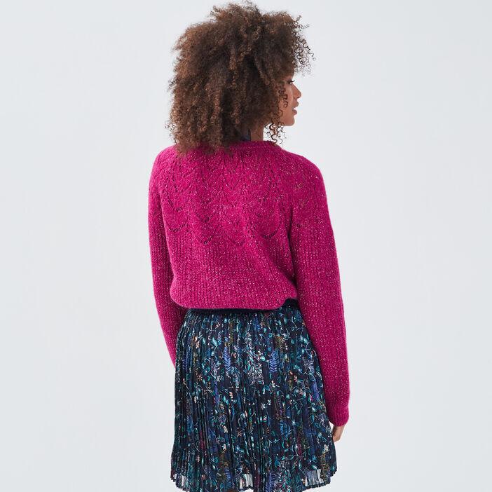 Pull avec détails ajourés violet clair femme