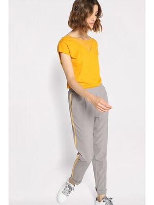 Pantalon carotte a bandes gris clair femme
