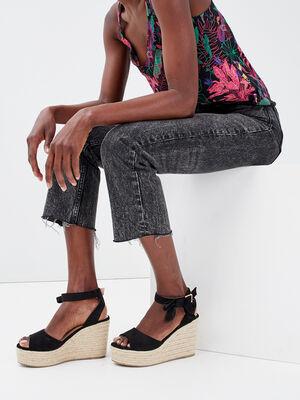 Sandales a talons compenses noir femme