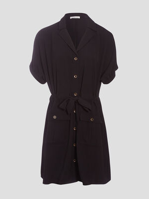 Robe droite boutonnee noir femme