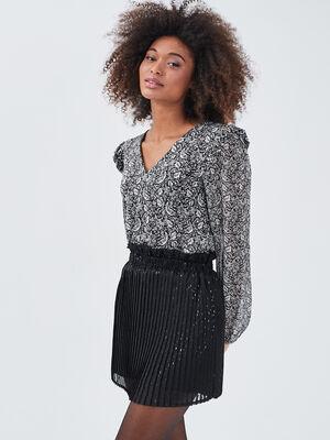 Jupe short droite plissee noir femme