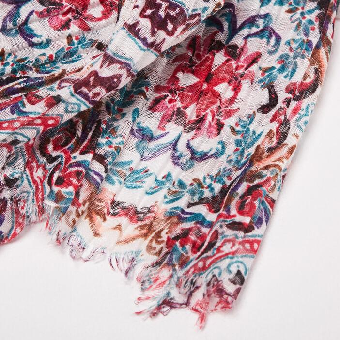 Foulard plissé rouge foncé femme