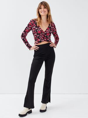 Pantalon flare taille haute noir femme