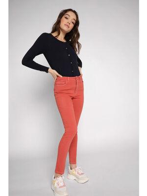Jeans skinny surpiqures orange fonce femme