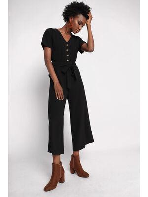 Combinaison pantalon boutonnee noir femme