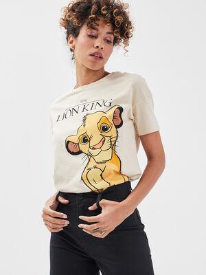 T shirt Le Roi lion ecru femme