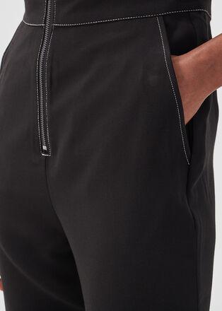 Combinaison pantalon zippee noir femme