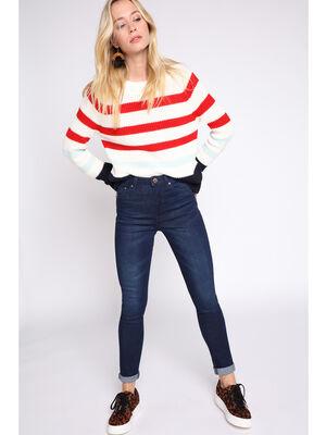 Jeans skinny taille haute used denim brut femme
