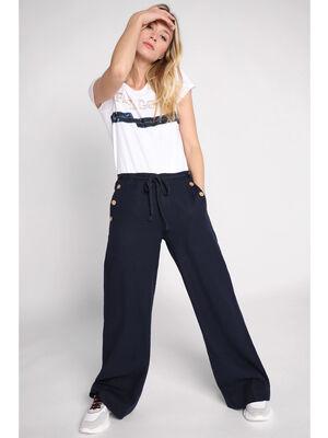 Pantalon large avec boutons bleu marine femme