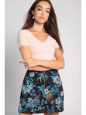 T shirt manches courtes cotele rose clair femme