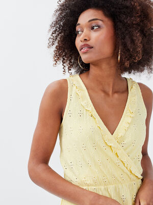 Debardeur bretelles larges jaune pastel femme