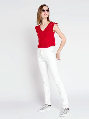 Pantalon regular uni blanc femme