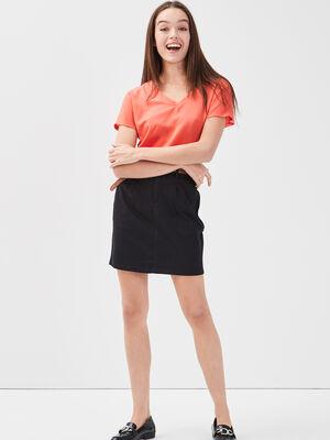 Jupe chino ceinturee noir femme