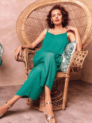 Combinaison pantalon fluide vert emeraude femme