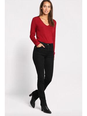 Jeans regular 5 poches denim noir femme