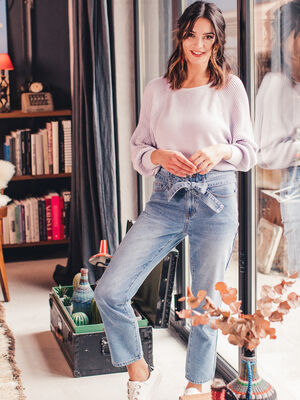 Jeans regular ceinture denim double stone femme
