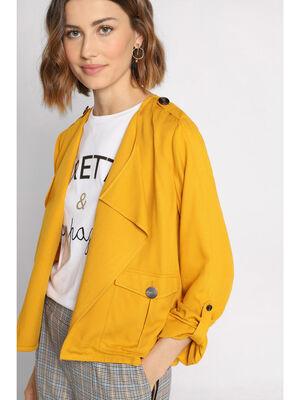 Veste droite poches a rabat jaune or femme