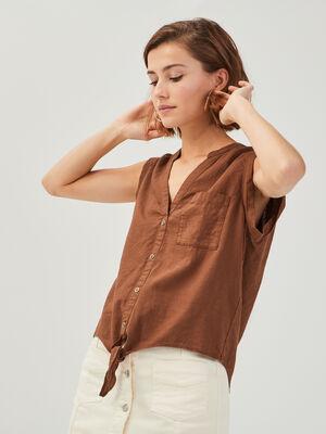 Chemise sans manches lin marron femme