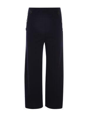 Pantalon evase taille haute bleu marine femme