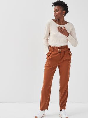 Pantalon paperbag fluide marron femme