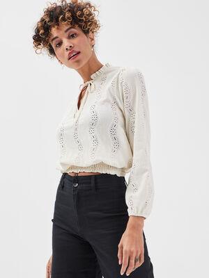 T shirt manches longues smocke ecru femme