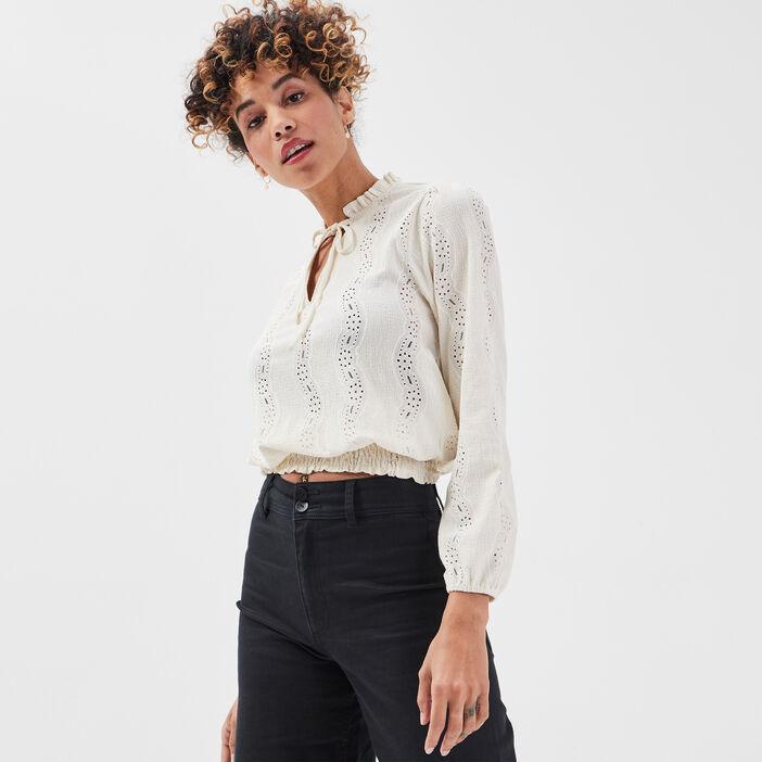 T-shirt manches longues smocké ecru femme
