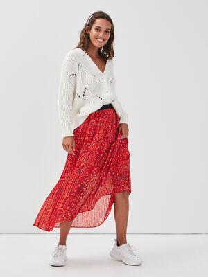 Jupe longue evasee plissee rouge femme