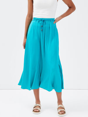 Jupe longue evasee bleu turquoise femme