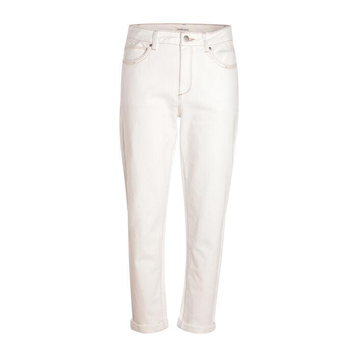 Jeans mom coutures contrastées ecru femme