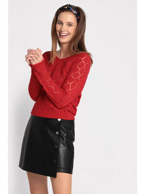 Pull manches longues ajoure rouge fluo femme
