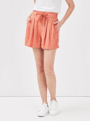 Short droit taille elastiquee terracotta femme