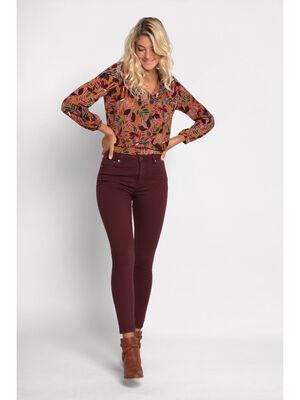 Pantalon skinny violet fonce femme