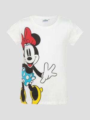 T shirt manches courtes Minnie ecru fille