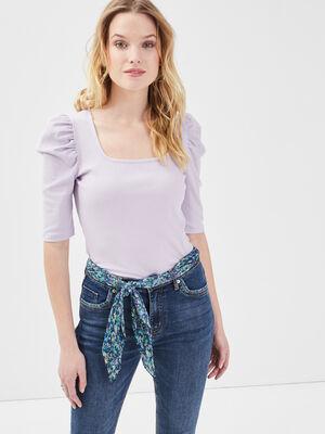 T shirt manches 34 cotele mauve femme