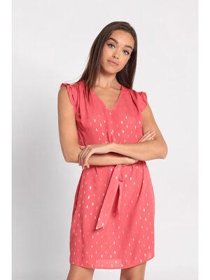Robe evasee ceinturee rose corail femme