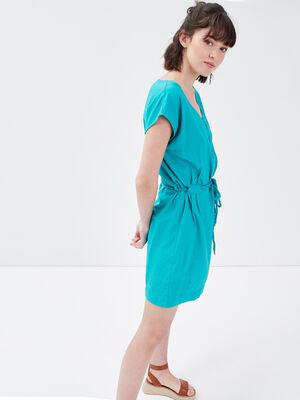 Robe droite lin vert femme