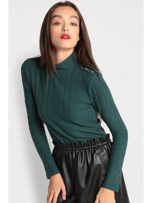 T shirt manches longues cotele vert fonce femme