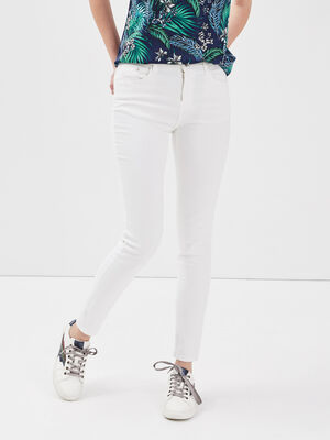 Jeans slim 5 poches blanc femme