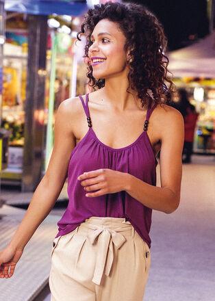 Debardeur bretelles fines violet femme
