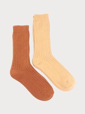 Set deux paires chaussettes maille unie marron clair femme