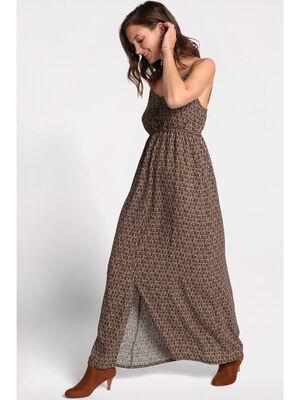 Robe longue droite a bretelles noir femme