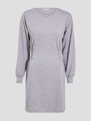 Robe droite manches longues gris clair femme