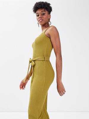 Robe longue droite ceinturee vert olive femme