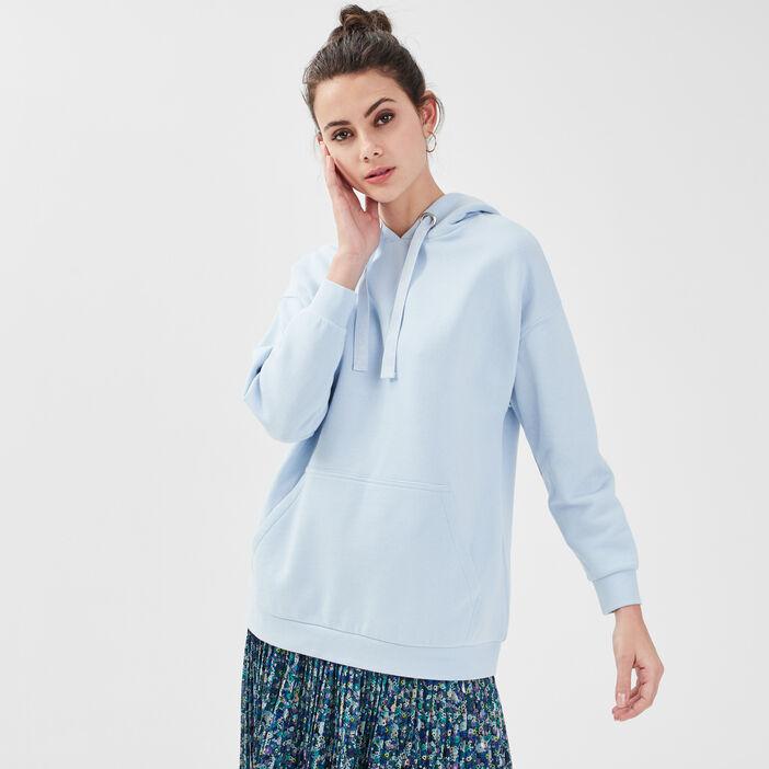 Sweat ample avec capuche bleu pastel femme