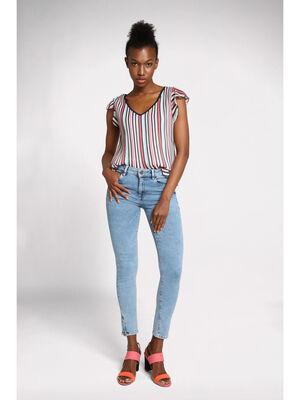 Jeans skinny bas jambe zippe denim bleach femme