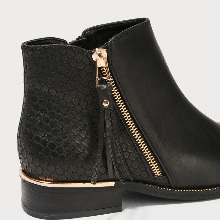 Bottines plates zippées noir femme