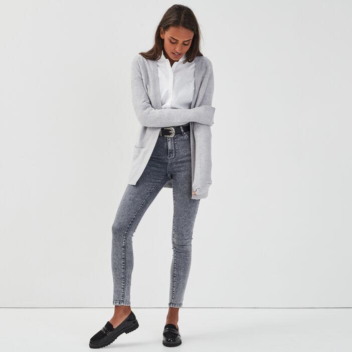 Gilet manches longues à poches gris clair femme